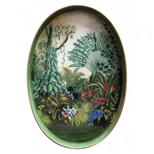 Hand-painted Tropical Flora Iron Tray