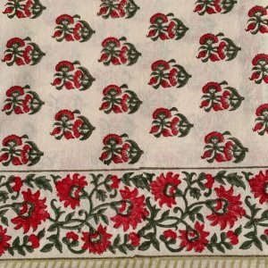 red and green cotton tablecloth hand block printed