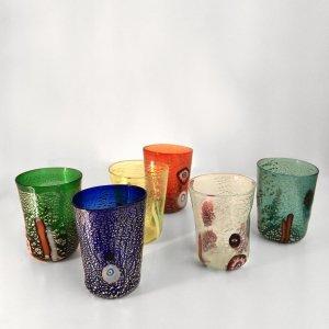 Set of 6 Murano Murrina glasses