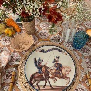 Tablescape with hand block printed tablecloth