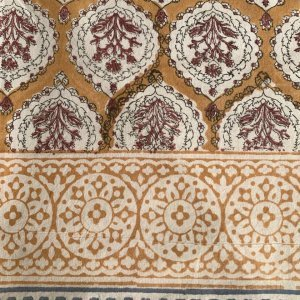 hand block printed tablecloth ochre and blue border