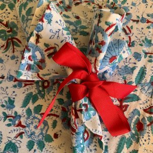 Set of 6 Slate Blue Marigold Napkins tied in a bow