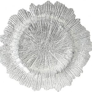 Glass silver charger plate