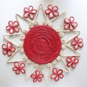 heart and flowers straw placemats