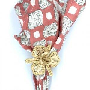 folded cotton pink napkin hand-block printed