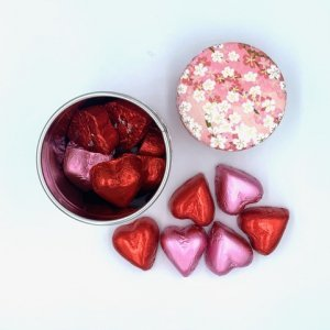 tea container and heart chocolates