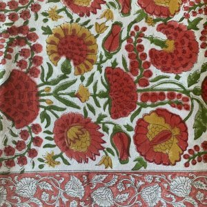 hand-block printed cotton tablecloth