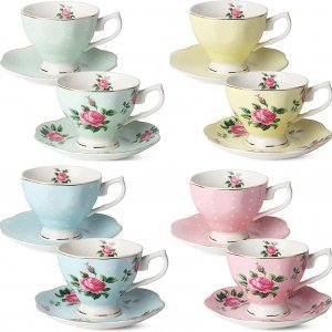 set of 8 coffee cups and saucers