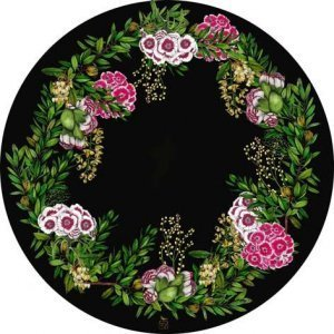 Black backround botanical round placemats