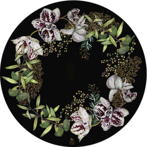 Black botanical fiberglass placemats sold in sets of 4