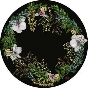Black floral placemats set of 4
