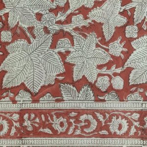 HAND BLOCK PRINTED COTTON RED LEAVES TABLECLOTH  Voyage a Table
