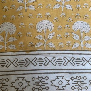 HAND BLOCK PRINTED COTTON OCHRE MARIGOLD TABLECLOTH  Voyage a Table
