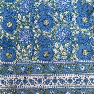 blue and green hand block printed tablecloth