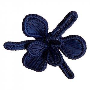SET OF 4 FLOWER POWER NAPKIN RINGS Navy