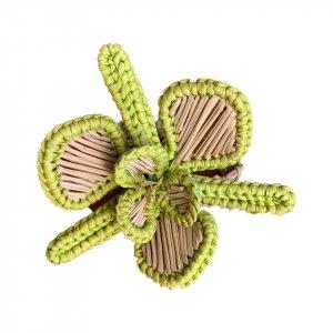 SET OF 4 FLOWER POWER NAPKIN RINGS Apple Green
