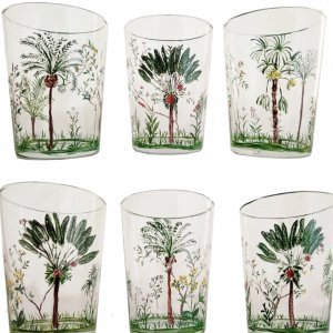 HAND PAINTED PALM TUMBLERS <BR> SET OF 2